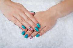 Light blue nail art Stock Photography