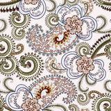 Light blue paisley with fine pattern. Decorated with flowers and green wavy curls Royalty Free Stock Photography