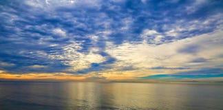 Sunset Santa Barbara Pacific Ocean. Light blue pale yellow sunset over Pacific Ocean in Santa Barbara California stock photos