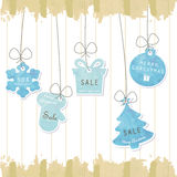 Light blue pastel tag on christmas background Stock Photography