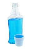Light blue post brush antiseptic mouthwash liquid Stock Images