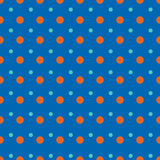 Light blue and red dots on blue background Stock Photos