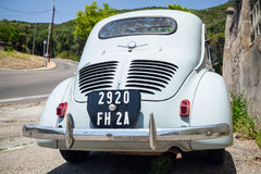 Light blue Renault 4CV old-timer economy car Stock Photos
