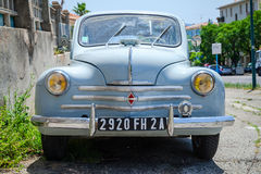 Light blue Renault 4CV old-timer, front view Royalty Free Stock Image