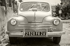 Light blue Renault 4CV old-timer, front view Royalty Free Stock Images