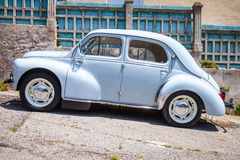 Light blue Renault 4CV old-timer, side view Royalty Free Stock Photography