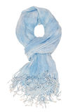 Light blue scarf with fringe. It is a light blue scarf with fringe Royalty Free Stock Photography