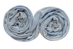 Light blue scarf is in spiral shape. The light blue scarf is in spiral shape Stock Photo
