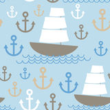 Light Blue Seamless background. Boat with white sails, sea ancho Stock Image