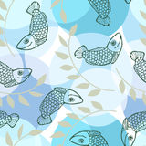 Light blue seamless background with fish and algae. Light blue seamless background of circles of different size with a dark green graphic image of the floating Stock Photo