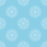 Light blue seamless background with white abstract flowers. Stylized floral pattern. Vector Stock Images