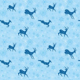 Light blue vector seamless christmas background with goats Royalty Free Stock Photo