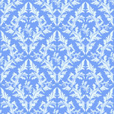 Light blue seamless damask Wallpaper. Royalty Free Stock Photo