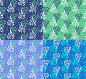 Light Blue Seamless Floral Pattern Set Stock Photos