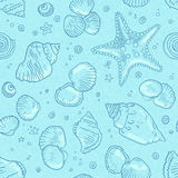 Light blue seamless seashells pattern Royalty Free Stock Photo