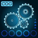 Light blue set cogs on the dark blue background. Teamwork, web. Stock Image