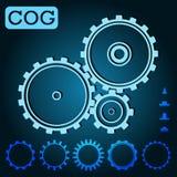 Light blue set cogs on the dark blue background. Teamwork, web. Engineering, gear; mechanics. Vector  version Stock Image