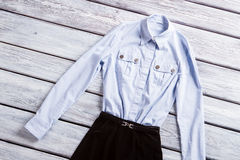 Light blue shirt with pockets. Royalty Free Stock Photography