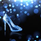 Light blue shoe Cinderella. In the Central part of the image of the blue shoe of Cinderella, which she has lost. There is a place for text Il logo Royalty Free Stock Images