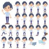 Light blue shortsleeved shirt perm men. Set of various poses of Light blue shortsleeved shirt perm men Stock Photo