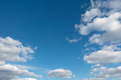 Light blue sky with clouds. Stock Photo