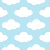 Light blue sky with white clouds seamless background Stock Photos