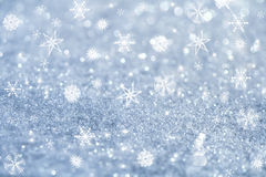 Light blue snowflakes and glitter sparkles Stock Photo