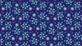 Light blue snowflakes seamless pattern over dark blue background. Snowflakes vector pattern. Geometric abstract seamless pattern of snowflakes and floral stock illustration