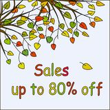 Light blue square background with hand drawn colorful autumn fallen leaves. And branches and colorful text Sales up to 80% off. Shopping promotion banner Royalty Free Stock Photo