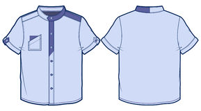 Light blue summer shirt with short sleeves. Front and back view of summer shirt royalty free illustration