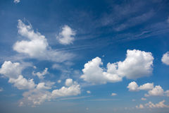 Light Blue Summer Sky with Beautiful White Clouds Stock Photos
