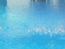 Light blue swiming pool water. Summer fun and party. Drops of water and play. Hot summer sun stock images