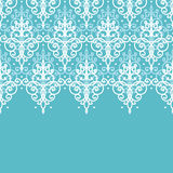 Light blue swirls damask horizontal seamless pattern background Royalty Free Stock Photography