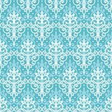 Light blue swirls damask seamless pattern background Stock Photos
