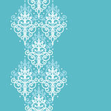 Light blue swirls damask vertical seamless pattern Stock Images