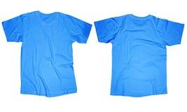 Light Blue T-Shirt Template. Wrinkled blank light blue t-shirt template, front and back design isolated on white Stock Image