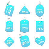 Light blue tags - discount. 100% vectors - colored labels, tags Stock Illustration
