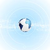 Light blue tech vector background with globe Royalty Free Stock Photo
