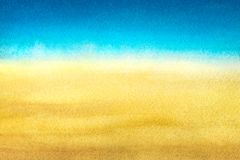 Light blue to warm yellow abstract sea and beach gradient painted in watercolor on clean white background.  royalty free stock image