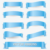 Light blue various curved empty ribbon banners eps10 Royalty Free Stock Photos