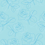 Light blue vector seamless pattern with roses Stock Photography