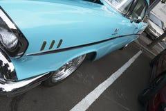 Light blue vintage vehicle at oregon city car show stock image