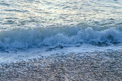 Light blue wave with white foam. Goes to seashore Royalty Free Stock Photography