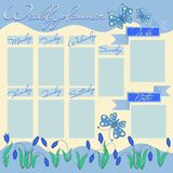 Light blue weekly planner with flowers and butterflies. Stationery organizer for girl daily plans. Floral vector weekly planner template, schedules Stock Images