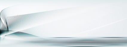 Light blue and white motion lines background. Abstract light blue, white, straight and curved motion lines on blurred light blue horizontal background banner stock illustration
