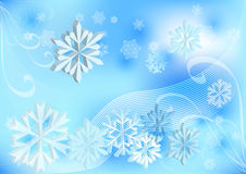 Light blue winter background. With 3D snowflakes Vector Illustration