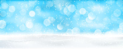 Light blue winter holiday bokeh background panorama Royalty Free Stock Photography