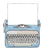 Light Blue Working Typewriter with paper  hand drawn vector cute Stock Photography