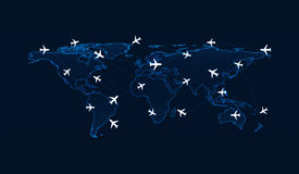Light blue world map with flight routes airplanes on blue backgr Stock Image