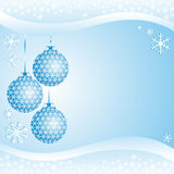 Light blue xmas Background with Balls and Snowflak Stock Photo